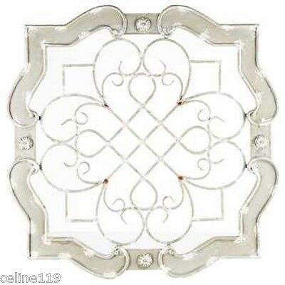 Elegant Cream Wood & Metal Wall Decor with Scroll and Grid Details