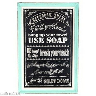 """Bathroom Rules Chalkboard Art with Turquoise Frame Shabby Chic Decor 18"""" X 12"""""""