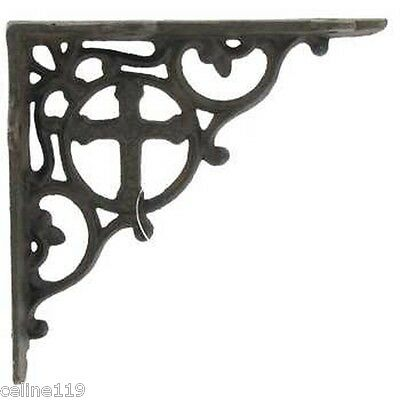 6 Cast Iron Antique Style CROSS Bracket, Shelf Bracket RUSTIC