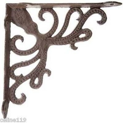 Rustic Set of 2 Octopus Cast Iron Wall Shelf Brackets Nautical Decor