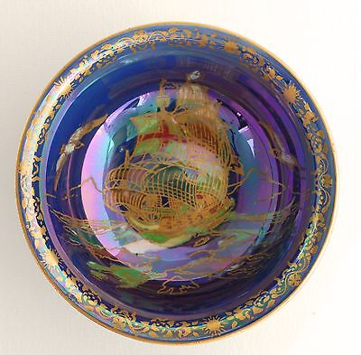 Crown Devon ROYAL GEORGE Lustre Bowl - Galleon Ship, Birds -Blue/Purple Lustrine