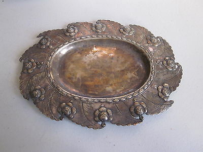 Antique Sterling Silver Card Receiver or Tray, some damage as pictured, 86 grms