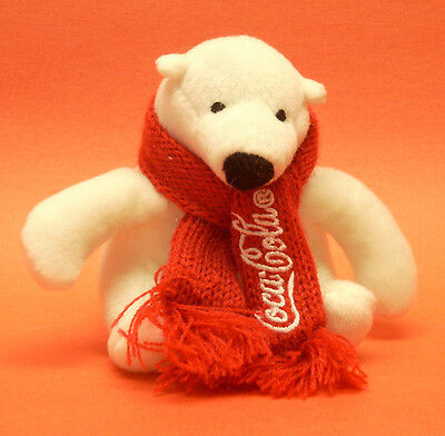 "COCA-COLA ~  5"" Plushy Polar Bear with Red Knit Scarf"