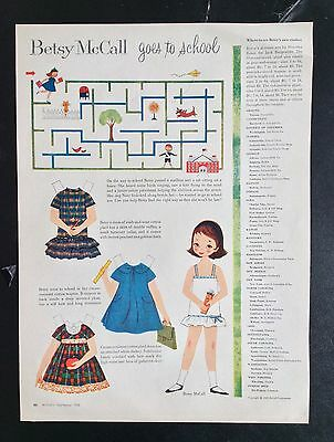 Vintage Betsy McCall Mag. Paper Dolls, Betsy McCall Goes to School, Sept. 1958