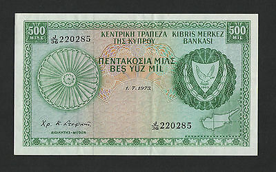 Cyprus 1975 500 Mil Banknote In Almost E/f J/36 220285