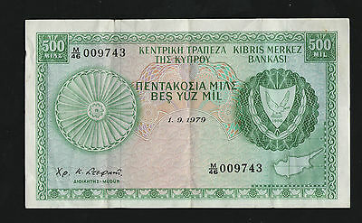 1979 Cyprus 500 Mil  High Grade Banknote --Very Collectable