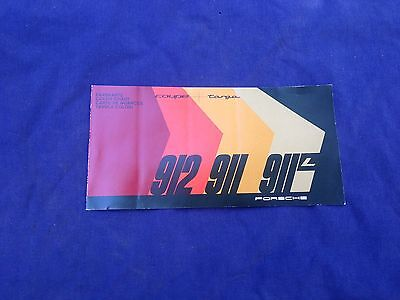 1967 Porsche 911 911L 912 Coupe Targa Dealer Brochure Color Chart Literature