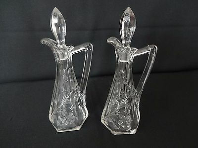 Vintage Matched Pair of Glass Cruet Bottles - Nice Quality with Stopper