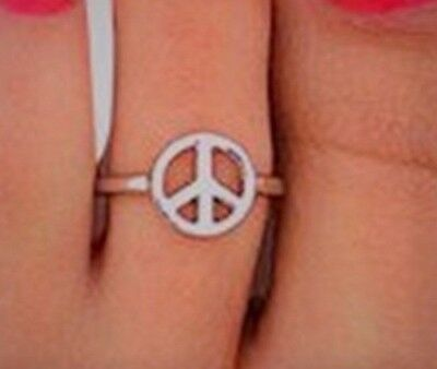 925 Sterling Silver Peace Sign Toe Ring High polished and Quality