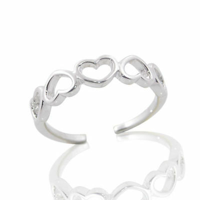 925 Sterling Silver adjustable Heart Toe Ring High polished and Quality