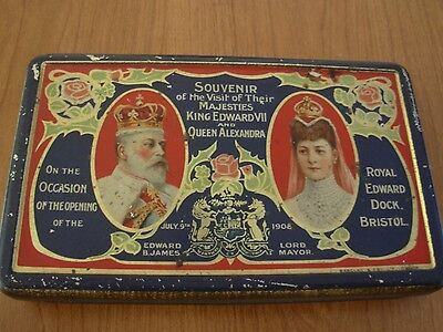 Wow Antique 1908 Tin Metal Cigaret ? Box King Edward VII & Queen Alexandra