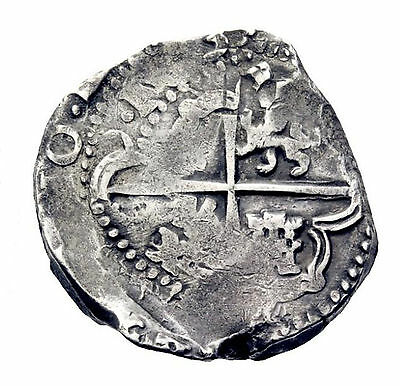 Lovely pirate cob & spanish colonial coin * Silver 8 Reales * Potosi T * 1635