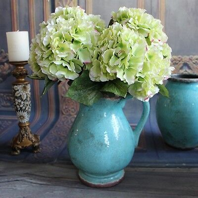 5 Heads Artificial Silk Hydrangea Bouquet Fake Flowers Home Party Decor Green