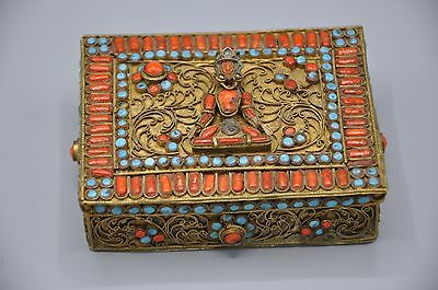 Antique Brass Turquoise Coral Tibetan Box