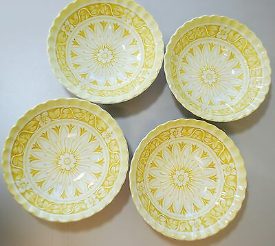 """Set of 4 - J & G Meakin - Medici Yellow Cereal Bowl Coupe 6 1/2"""""""