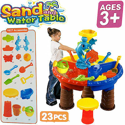 Kids Round Sand And Water Table W/STOOL Beach Garden Sandpit Activity Play Set
