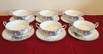 Delicate Bone China 6 x Soup Bowls & Saucers
