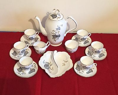 Delicate Bone China Coffee Set for 6 Including Petit Fours Dish