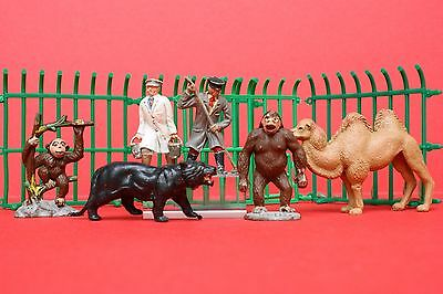 TIMPO VINTAGE SOLID PLASTIC ZOO ANIMALS & CAGE SECTIONS Lot #7