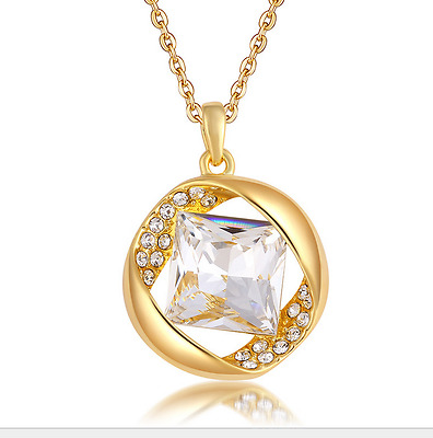 Fashion Womens Clear Diamond Crystal Rhinestone Gold Chain Pendant Necklace ----