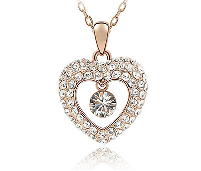 Fashion Womens Heart  Clear Crystal Rhinestone Gold Chain Pendant Necklace NEW -