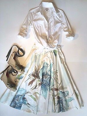 "Vtg Ivory with Turquoise Blue Green Brown Floral 50's Circle Skirt 26"" XS, Prada"