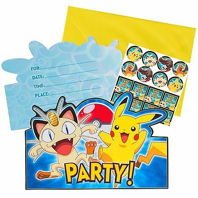 Pokemon Birthday Party Supplies Pack 8 Invitations Invites Envelopes Stickers