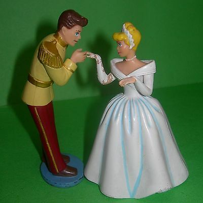 Disney Princess Cinderella & Prince Charming 2 PVC Figures Lot Toys Cake Topper