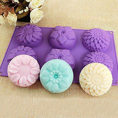 DIY 6 Cavity Flower Shaped Silicone Handmade Soap Candle Cake Mold Tool Supplies