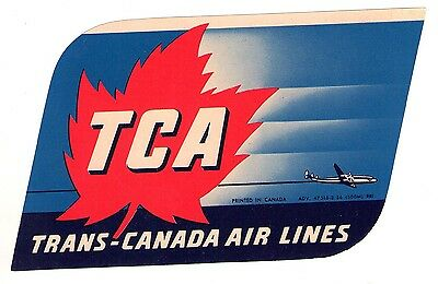 Vintage Trans-Canada Air Lines ~ Tca ~ Airline Luggage Label Maple Leaf