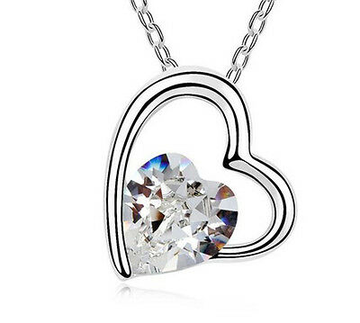 Fashion Womens Heart Clear Crystal Rhinestone Silver Chain Pendant Necklace ----
