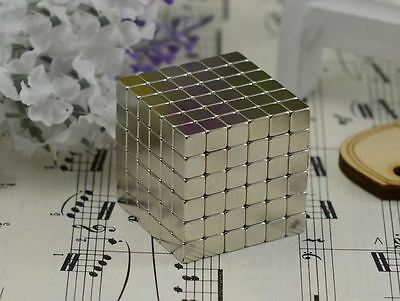216pcs Neodymium Super Strong Magnetic 5*5mm Cubes like Buckyballs Silver DIY