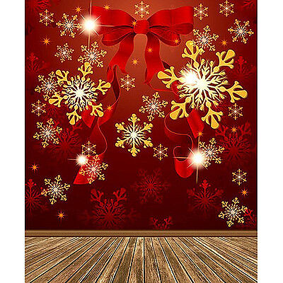5X7FT Vinyl Studio Christmas Backdrop Photography Props Photo Background Bowknot