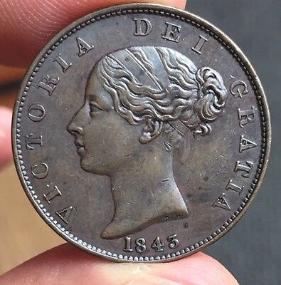 Victoria 1/2 Penny 1843 Beautiful Grade RARE!!!!