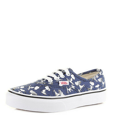 6b182a0c825a9e Youth Kids Vans Authentic Peanuts Snoopy Skating Canvas Navy Trainers Size