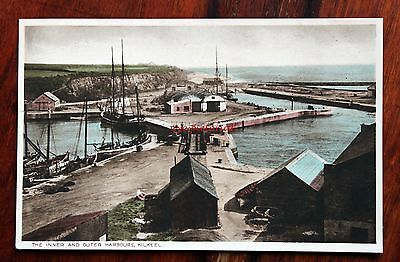 Rare Early Printed Coloured Postcard Ireland Kilkeel Inner & Outer Harbours Boat