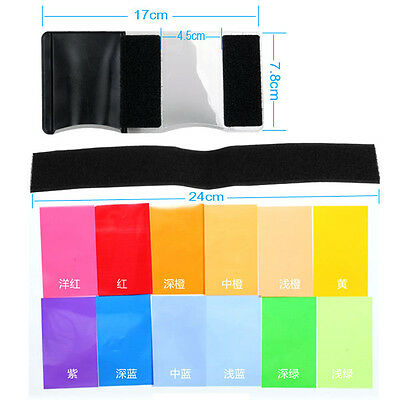 12 x Flash Diffuser Lighting Gel Color card correct Pop up Filter For Speedlite