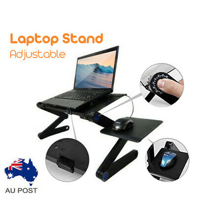 New Portable Laptop Stand Desk Table Tray Sofa Bed T8 Cooling Fan Mouse AU Stock