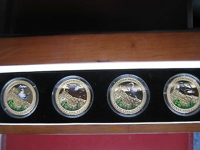 St. Helena 2013 25 Pence 4x Crown Coin Full Set Birds Life coloured gold-plated