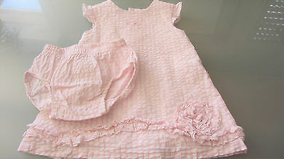 Belle robe + bloomer rose et blanc taille 18 mois, marque Tutto Piccolo