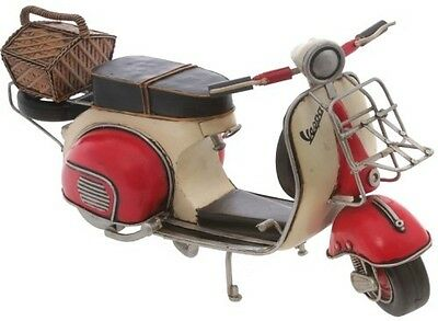 Vespa Scooter Red & White, Steel,handmade,painted,detailed,30Cm Long,