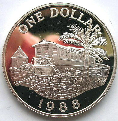 Bermuda 1988 Railroad Dollar Silver Coin,Proof