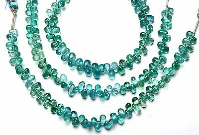 Natural Gem Green Apatite 6x4MM Teardrop Shape Beads Colombian Emerald Color 7""