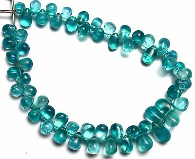 Natural Gem Green Apatite 6x4 to 8x6MM Drop Shape Beads Colombian Emerald Color
