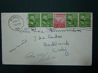 1 Cent Prexie Airmail Cover -Aug 9 1949 Elwwod Ind To Redlands Cal.