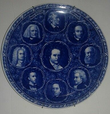 Flow Blue Great Musicians and Composers Plate Rowland & Marsellus Staffordshire