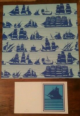 Vintage Men's Gift Wrap Wrapping Paper and Cards Box Set Regal