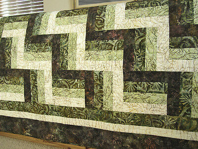 Batik Quilt, Handmade Quilt, Patchwork, Home Decor, Lap Quilt, Rail Fence Block