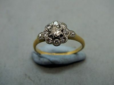18ct Yellow Gold & Platinum Diamond Floral Cluster Ring c1960