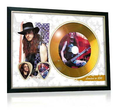 Cliff Burton Metallica Flag Style Signed Gold Disc Display